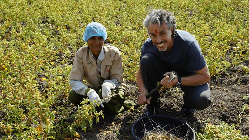 The author Chris Kilham with a woman harvester an an ashwaganhda field.